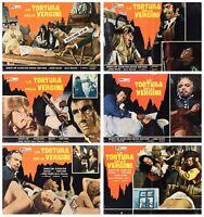 LA TORTURA DELLE VERGINI FOTOBUSTE 6 PZ. EROTICO 1969 USED TORTURE LOBBY CARD