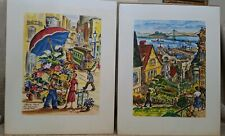 Lot of 2 Ted Lewy Lithograhs 11 x 14 San Francisco Flower Stand / Telegraph Hill