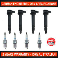 4x Genuine NGK Iridium Spark Plugs & 4x Ignition Coils for Toyota Hiace RCH