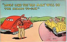 "COMIC MILITARY WW2 Linen  Postcard  ""Looks Like the Old Man will do the Hiking"""