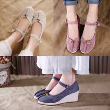 Women's Cotton Linen Embroidered Shoes Wedge Retro Mary Jane Folk-custom Fashion