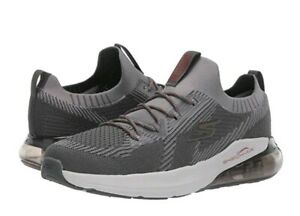 Skechers ~ Go Run Air STRATUS ~ Men's Charcoal Gray & Red Running Athletic Shoes