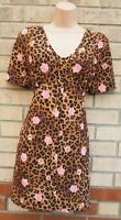 IN THE STYLE BROWN PINK FLORAL ANIMAL PRINT SMOCK MINI SLIP TUNIC TEA DRESS S M
