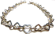 Sterling Silver Interlocking Heart Necklace Retail $298 Kuta Indonesia Thick