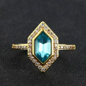 Natural Aquamarine 925 Sterling Silver Ring 18K Gold Color Womens Engagement