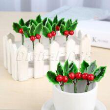 Plaster Foam DIY Berry Christmas Artificial Fruit Flower Leaves Decoration 10Pcs