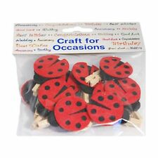 Mini Pegs - Red Ladybirds - Wood Felt Craft Home Decoration Display - Pack of 10