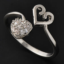 Rare Womens Heart Ring clear crystal White Gold Plated ,Adjustable Size 7