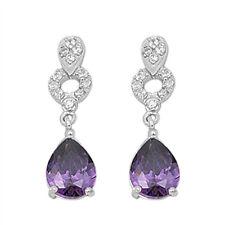 Beautiful! Amethyst & Cz Drop .925 Sterling Silver Earrings