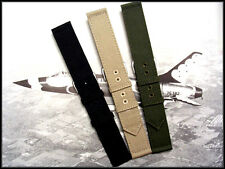 18mm Black Canvas WWII 2pc Military watchband army strap nato IW SUISSE 16 20 22