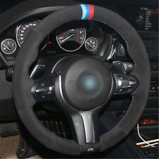 DIY Steering Wheel Cover Black Suede Hand Sewing For BMW M6 F85 X5 M F86 X6 M