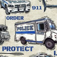 Protect and Service Police Fabric 911 Police Officer Cotton Fabrics Blue Gray