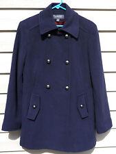 Liz Claiborne Winter Pea Coat size 8 Wool Blend 10% Cashmere Jacket Navy Blue