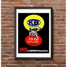 Hellcat Slot Car Motor Promo Poster - K&B Aurora 1960's Vintage Slot Car Speed