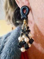 Authentic Vintage 1980's Black Seed Bead & Faux Pearl Pierced Earrings