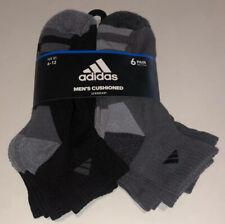 Adidas Quarter Socks 6 Pair Men's 6-12 Black & Grey w/Logo Cushioned Footbed NEW