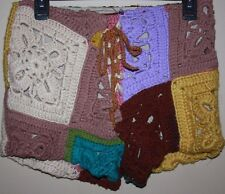 NASTY GAL Vintage Retro Crochet Thick Blanket Square Yarn Knit Patches Shorts M