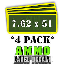 """7.62 x 51 Ammo Label Decals Ammunition Case 3"""" x 1"""" Can stickers 4 PACK -YWagRD"""
