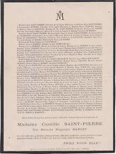 *1921 Faire-part décès Mme Camille SAINT-PIERRE née Blanche-Hippolyte BARRET