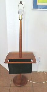 Mid-Century Modern Laurel Walnut Floor Lamp Table with Suede Magazine Holder