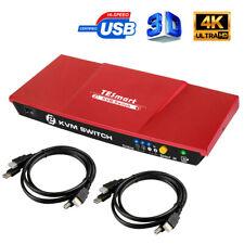 HDMI KVM Switch 2x1 4K@30Hz with Audio USB 2.0 Auto-Scan IR Hot Key HDCP1.4