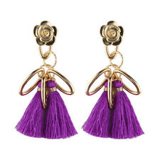Purple TASSEL Earrings GOLD Loop FLOWER Stud SILKEN Dangle FUN Unique GIFT