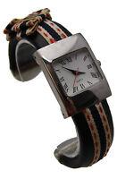 "Unbranded 7"" Watch Cuff Style w/Striped Cloth & Roman Numerals Analog WORKS"