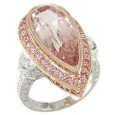 Vintage 925 Silver Waterdrop Shape Pink Sapphire Rings Cocktail & Wedding Women