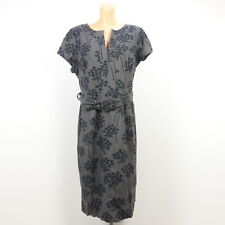 BODEN Kleid Dress Geblümt Blumen Grau Schwarz Gr. DE 48 (BF95)