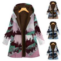 *Women Landscape Printed Winter Casual Hooded Long Sleeve Hoodies Jacket Outwear