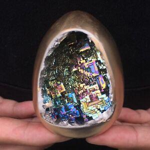 Rainbow Bismuth Ore Egg Quartz Crystal geode Mineral Specimen Reiki Healing 1pc.