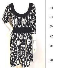 TIANA B. Black, White Empire Waist Scoop Neck Jersey Stretch Knit Dress LARGE