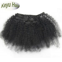 """Remy Afro Kinky Curly Clip in 100% Human Hair Weft Extensions 7pcs 70g 8""""-20"""""""