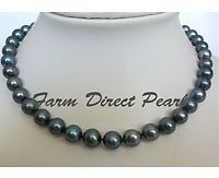 """16"""" Inch Choker Genuine 9-10mm ROUND Black Pearl Necklace Cultured Freshwater"""