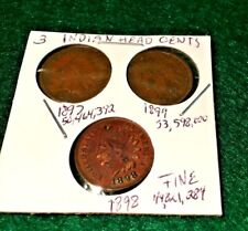 Indian Head Cents 1897 (w/partial Liberty 1897),1898&1899(121 yrs)