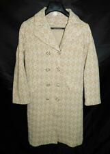 Vintage 60s S Khaki Brown Jacket Mcm Mod Long Trench Dress Coat Stretch Knit S M