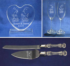Beauty and the Beast Wedding Glasses knife server cake topper set engraved