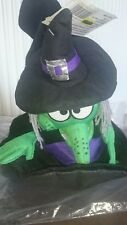 Black flying witch hat fancydress with witch face embellishments Size 35cm