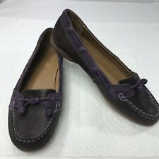 Sebago Felucca Lace Leather Loafers Brown Violet Womens Size 9.5