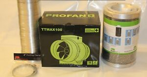"""5"""" Rhino Hobby Carbon Filter & HighPro TT Fan Extraction Kit 5m Ducting & Clips"""