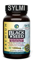 Amazing Herbs Black Cumin Seed Pure Cold Press Oil 1250mg 60 XL Softgel Capsules