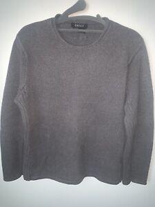 90's DKNY Sweater Gray Cotton CrewNeck Medium Vintage Fashion NY Ribbed side EUC