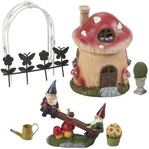 Mini Garden Gnome Fairy Village Statue Set, Whimsical Home Decor (7 Piece Set)