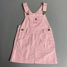Oshkosh Girls Size 4 Pink White Striped Denim Overall Jumper Dress