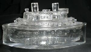 """Clear GLASS Candy Dish SHIP Commemorating the USS Maine """"REMEMBER the MAINE"""""""