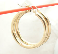 3mm X 30mm Plain Shiny Hoop Earrings REAL 10K Yellow Gold FREE SHIPPING