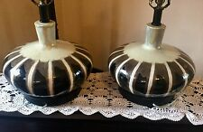 "25"" 1 (or Pair of 2) DRIP GLAZE Mid Century POTTERY Table LAMP 1960 Brown Black"