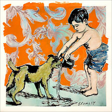 "DAVID BROMLEY Children Series ""Boy and Dog"" Mixed Media on Paper 94cm x 94cm"