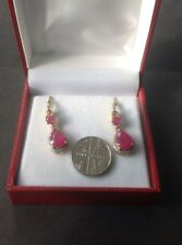 Fabulous Ruby Colour Drop Earrings,silver With Gold Overlay