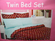 6 Pc Cover Up Collection Chocolate Comforter With Polka Dots & Sheet Set New!